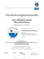 "Zertifikat ""Fremdüberwachter Kanalbau"" der John Wittmann GmbH"