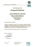 Bescheinigung über die Präqualifikation der John Wittmann GmbH